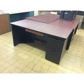 """29 1/2x60x28 1/2"""" Black metal desk with right ped (4/15/19)"""