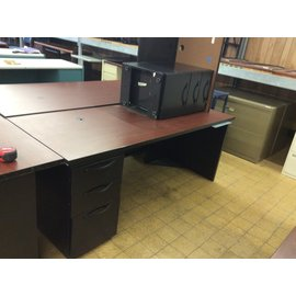 """29 1/2 x72x28 1/2"""" Black metal Desk with left ped and rt rtn (4/15/19)"""