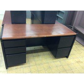 "25x61x30"" Black metal Desk with wood top dbl ped (4/15/19)"