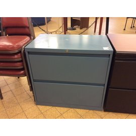 "18x30x28 1/2"" Blue metal 2dr lateral file cabinet (4/16/19)"