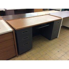 """24x61x30"""" Gray dbl ped desk (5/9/19)"""