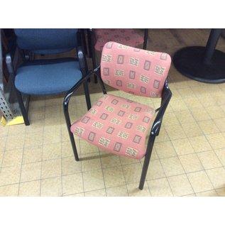 Pink/tan pattern metal frame side chair (6/6/19)