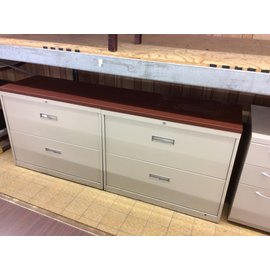"18 1/4x72x29 1/4"" beige 4 drawer Lat. File with wood top (5/20/19)"