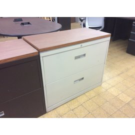 "18 1/4x36x30"" Lt gray metal 2dr lateral file w/wood top (6/4/19)"