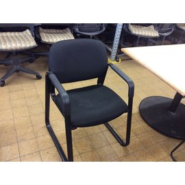 Black padded side Chair with metal arms & base (6/10/19)