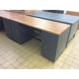 """24x60x29 3/4"""" Gray dbl ped desk (6/18/19)"""