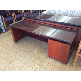 26x72x24 Cherry wood glass top credenza 6/19/19