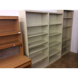 "13 1/2x34 1/2x78"" Beige metal bookcase (5/11/21)"