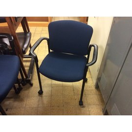 Blue padded side chair on castors (12/4/19)