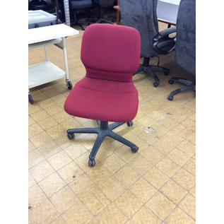 Red padded desk chair on casters  (8/21/19)