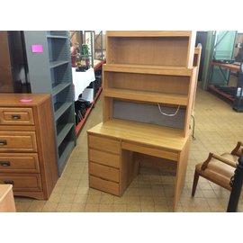 """24x42 1/4x72 1/2"""" Wood 5 drawer student desk w/hutch (7/31/19)"""