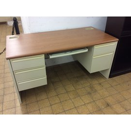 30x60x30 Dbl. pedestal beige metal desks/wood top (9/24/19)