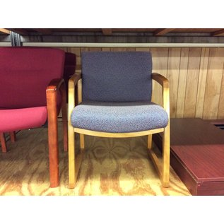 Blue pattern wood frame side chair (10/02/19)