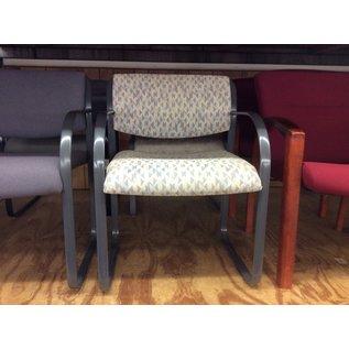Beige pattern metal frame desk chair (10/03/19)