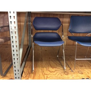 Dk blue plastic seat stacking side chair (10/30/19)