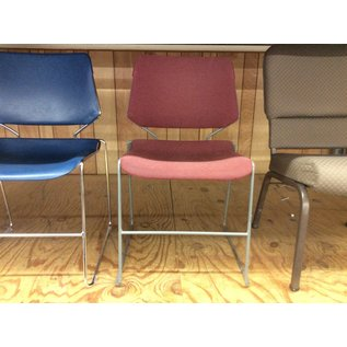 Red padded metal frame stacking chair (10/30/19)