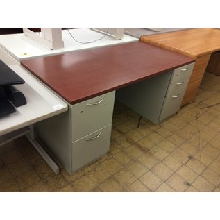 "29 1/2x60x28"" Gray metal desk (11/12/19)"
