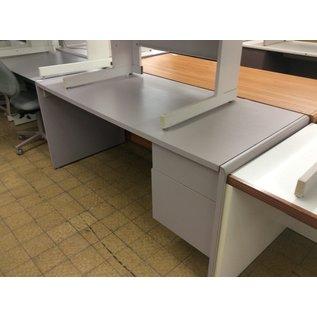"30x66x29 1/2"" Gray wood R/pedestal desk (10/31/19)"