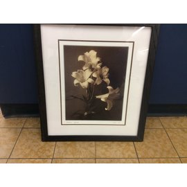 "18""x16"" black wood flower picture (11/7/19)"