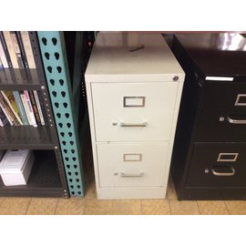"15x25x29"" White Metal 2dr vertical file cabinet (11/11/19)"