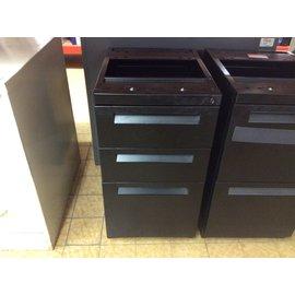 """14 3/4x19 1/2x27 1/2"""" Black Metal 2dr under desk mount vertical file cabinet (11/11/19)"""