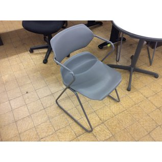Gray plastic seat metal frame stacking side chair (11/20/19)