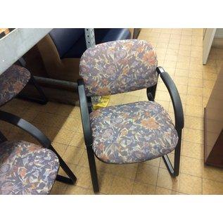 Blue flower pattern metal frame side chair (11/20/19)