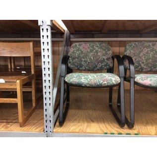Green flower pattern metal frame side chair (11/20/19)