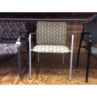 Beige pattern metal frame side chair (11/20/19)