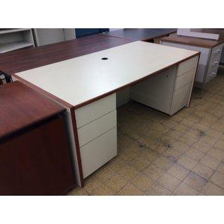 """36x72x29 1/2"""" Beige wood dbl ped desk (11/20/19)"""
