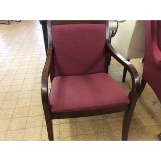 Red pattern cloth w/ wood trim chair (11/20/19)