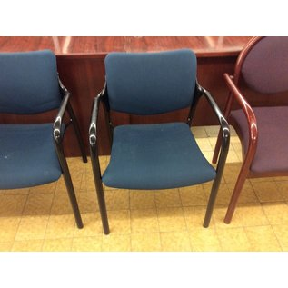 Dk green padded metal frame stacking side chair (11/21/19)