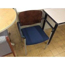 Blue padded metal frame wood back side chair (11/21/19)