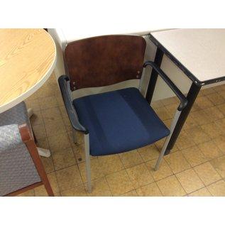 Blue padded metal frame wood back side chair (11/21/19)