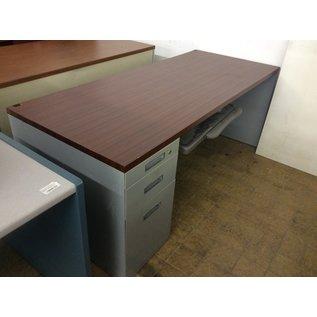 """30x72x28 1/2"""" Gray maroon top L/ped Desk (11/21/19)"""