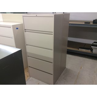 """18x30x65"""" Tan 5 drawer metal lat. file cabinet (12/10/19)"""