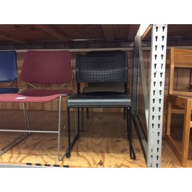 Black plastic metal frame stacking chair (1/16/2020)