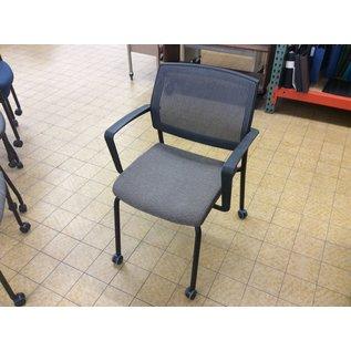 Brown mesh back side chair on castors (1/30/2020)