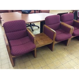 "63 1/2"" Maroon double lounge w/table (2/13/2020)"
