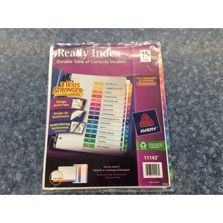 Ready Index Dividers - 15 tabs (4/23/2020)