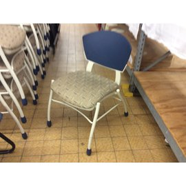 Blue/gold pattern metal frame stacking chair (3/11/2020)