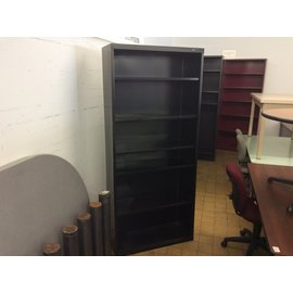 "13 1/2x 35x78"" Black metal Bookcase. (3/12/2020)"
