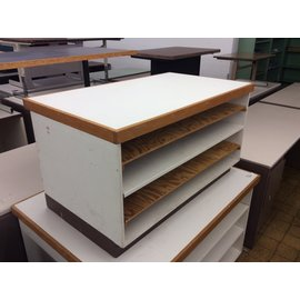 "25x43x23 1/2"" Wood paper storage shelf unit (3;12;2020)"