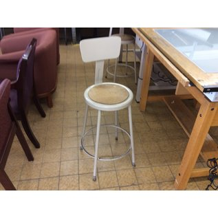 Beige metal adjustable height lab stool w/back rest (3/12/2020)