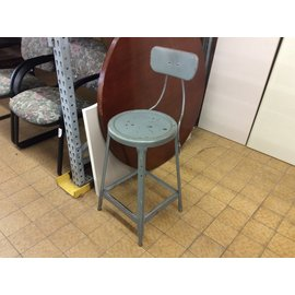 Gray metal adjustable height lab stool w/back rest (3/12/2020)