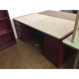"""35x70x29"""" Red metal dbl pad desk (3/12/2020)"""