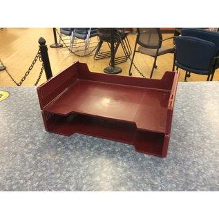 Maroon plastic 2 tier paper tray (3/17/2020)
