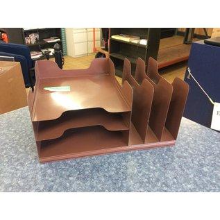 Brown metal 3 tier/3 slot desktop file organizer (3/23/2020)