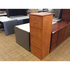 "16 3/4x19x51"" Wood 4 drawer file cabinet w/key  (4/20/2020)"