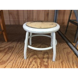 "12 1/2"" Beige metal stool (4/20/2020)"